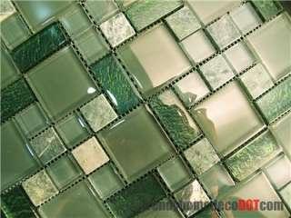 Sample  Marble Green Crystal Glass Pattern Mosaic Kitchen Backsplash