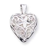 New Sterling Silver Filigree Heart Love Charm