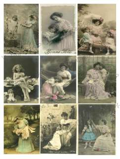 Vintage Mother Daughter Postcard Collage Sheet C72