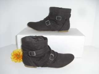 Material Girl 10 M Saber Brown Ankle High Buckle Boots Booties Womens