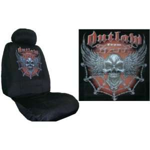 Car Truck SUV Outlaw From Hell Skull Print Seat Covers 2