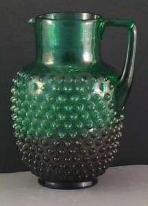 Antique Glass Hobnail Pitcher Dew Drop Hobbs Two Tone
