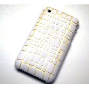 New White Mosaic Laser Cut Rear Only Apple Iphone 3g 3gs
