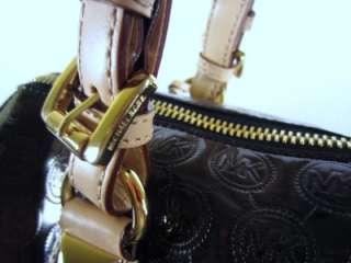 MICHAEL KORS LARGE BLACK GRAYSON MONOGRAM MIRROR SATCHEL PREOWNED