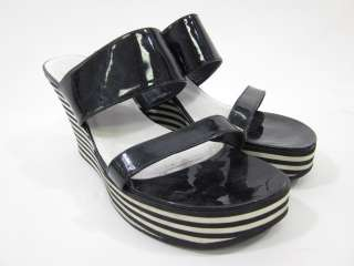 KORS MICHAEL KORS Black White Stripe Wedges Sandals 9.5
