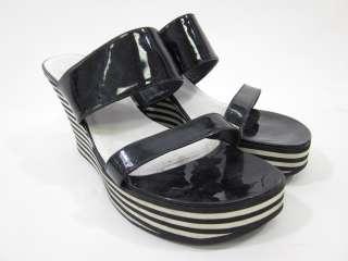 KORS MICHAEL KORS Black White Stripe Wedges Sandals 9.5