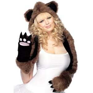 Lets Party By Leg Avenue Plush Bear Hood With Paw Scarf