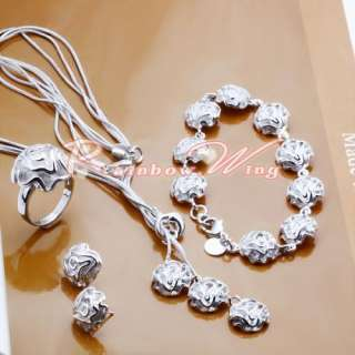 Silver Plated Rose Necklace/Bracelet/Ring/Earrings Set