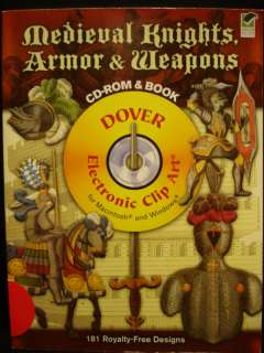 MEDIEVAL KNIGHTS ARMOR, WEAPON LABEL ART CD ROM & BOOK