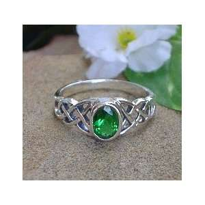 Sterling Silver Celtic Irish KNOT Green CZ Ring size 6.5