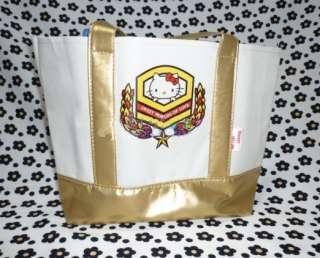 Hello Kitty Gold + White Canvas Small Tote Bag