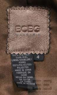 BCBG Max Azria Bronze Leather Long Sleeve Blazer Jacket Size 4