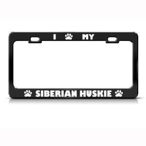 Siberian Huskie Dog Dogs Black Metal license plate frame