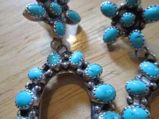 VTG Navajo Zuni Natural Turquoise Sterling Silver HUGE & Long Earrings