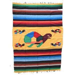 Giant Turtle Mexican Blanket throw rug tapestry