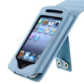 Blue Leather Case+Car+Home Charger For iPod Touch 2nd