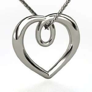 Infinite Heart Pendant, 14K White Gold Necklace