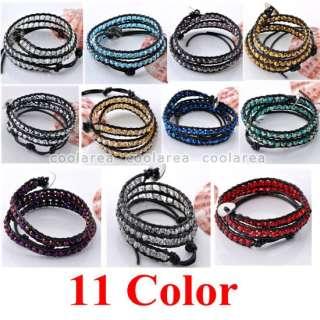 Fashion Hot STYLE Crystal Glass Bead Black Leather 2 Wrap Bracelet