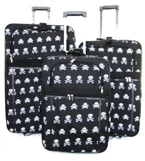 Piece Luggage Set Travel Bag Rolling Wheel Upright Black/White