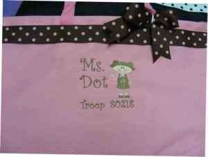 Girl Scout brownie Tote Bag PERSONALIZED Gift Polka dot