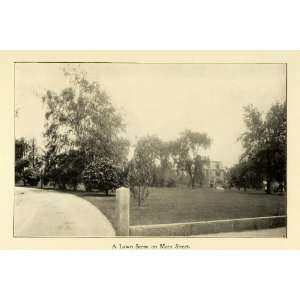 1898 Print Lawn Scene Main Street Worcester Massachusetts