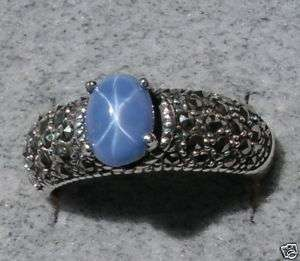 LINDE LINDY SMOKEY BLUE STAR SAPPHIRE CREATED RING