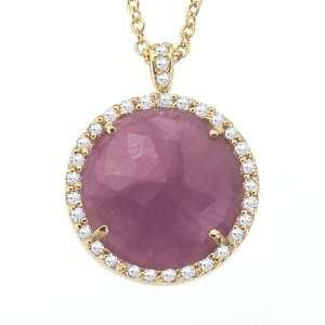 Unique 14k Yellow gold rose cut Sapphire and White diamonds pendant