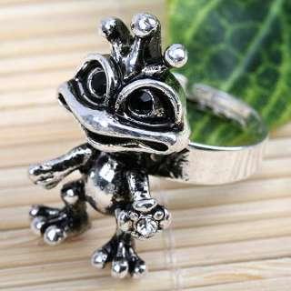 1p Special White Crystal Frog Adjustable Finger Ring#7