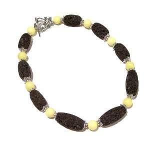 The Black Cat Jewellery Store Lemon Jade & Lava Stone