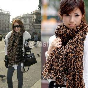 Ladies Soft Leopard Print Shawl Scarf Neck Wrap Around Pashmina