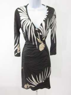 JULIE BROWN Green White Black Print Silk Wrap Dress P