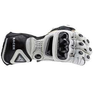 Racer High Racer Leather Gloves   Small/White Automotive