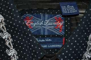 English Laundry LONG SLEEVE BLACK WHITE EMBROIDERED MODERN SHIRT MENS