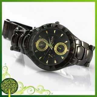 Luxury Gold Tone Crystal Black Stainless Steel Men Ladies Quartz Wrist