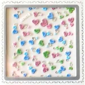 Colorful Hearts 3D Nail Art Glitter Sticker Beauty