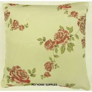 SHABBY PINK CREAM ROSE FLORAL FLOWER EMBROIDERED 18 CHIC