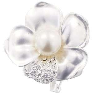 Silver Lucky Flower Austrian Crystal Pearl Pin Brooch Jewelry