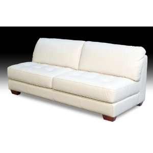 Diamond Sofa Armless White Tufted Seat Leather Sofa