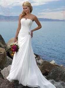 White chiffon A line sweetheart beach wedding dress formal gown custom
