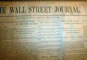 1929 WALL STREET JOURNAL newspaper STOCK MARKET CRASH BEGINS Great