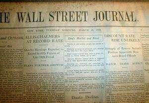 1929 WALL STREET JOURNAL newspaper STOCK MARKET CRASH BEGINS Great
