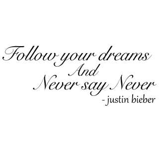 Justin Beiber Never Say Never Quote Wall Stickers / Wall Decals