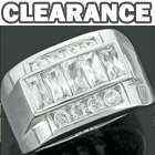 Sterling Silver Iced Out Baguette Bling CZ Hip Hop Band Ring Size 8/11