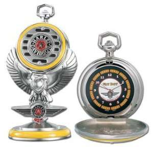 Franklin Mint Harley Davidson Fat Boy Pocket Watch Set