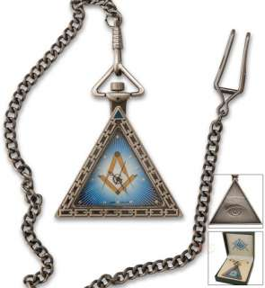 Watch Unusual Triangle Seeing Eye w Keeper Chain Gift Box