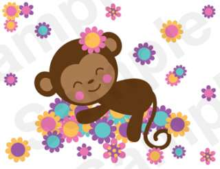 SLEEPING JUNGLE GIRL MONKEY BABY NURSERY FLORAL WALL MURAL STICKERS