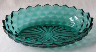 COLONY/ INDIANA WHITEHALL TEAL GREEN OVAL BOWL 9 7/8