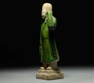 Ancient Chinese Ming Dynasty Glazed Terracotta Attendant Statue Figure