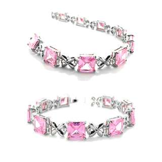 Christmas Gift Jewelry 2 FEATURED PINK SAPPHIRE WHITE GOLD GP TENNIS