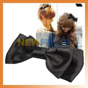 New Black Decoration Satin Bow Hair Barrette Clip